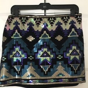 Express Aztec Sequin Mini Skirt - Size Medium